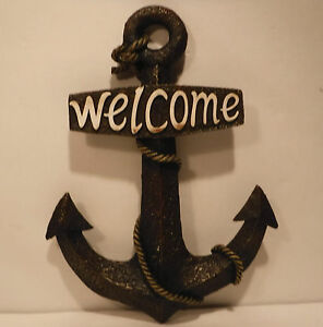 "Large Anchor Wall Decor 15"" resin welcome anchor large brown anchor nautical beach home"