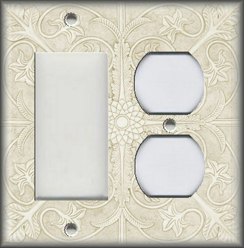Metal Light Switch Plate Cover Tuscan Tile Pattern Antique White Home Decor