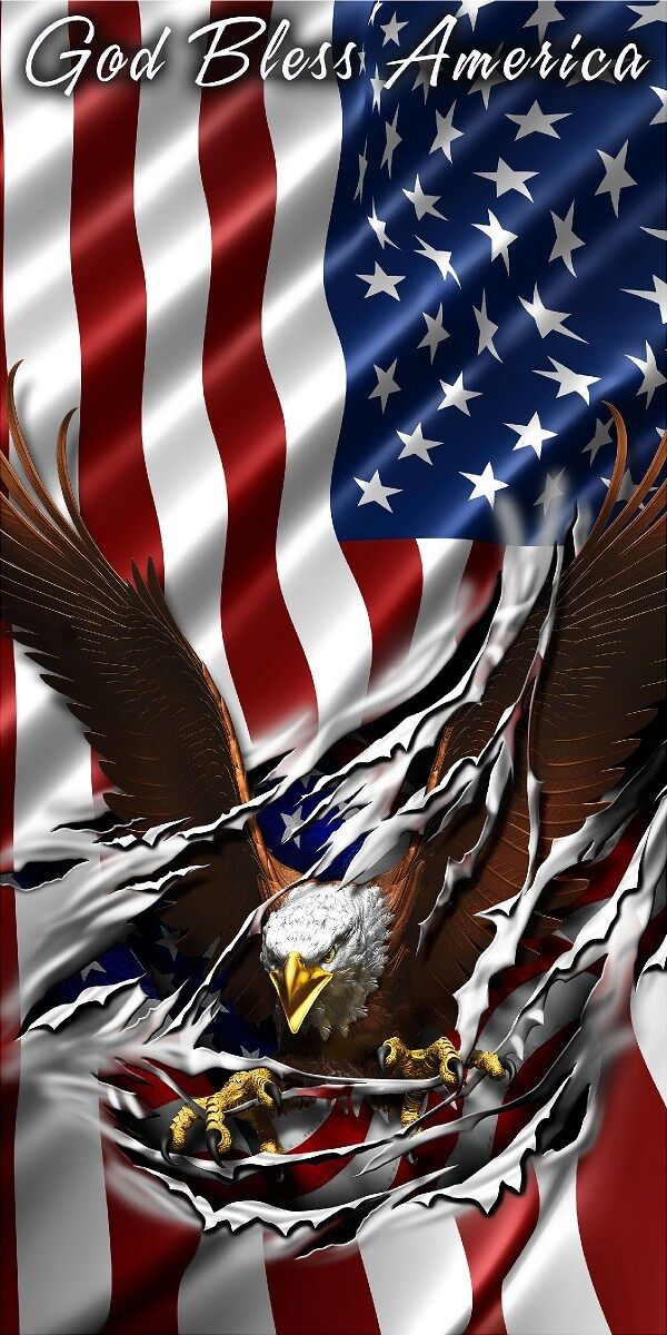 American flag eagle tear rip God Bless America Cornhole game decal wrap
