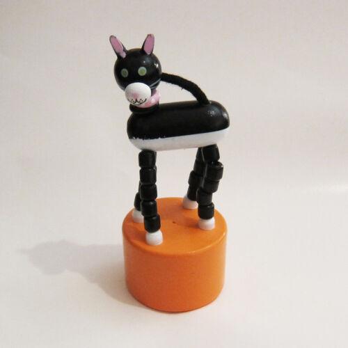 Classic Wood Push Puppet Black White Cat w//Golden Yellow Base Pink Collar Tuxedo