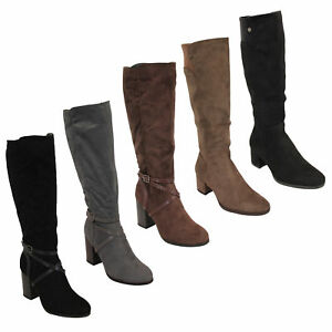 big sale outlet store new images of Details about Ladies Knee Calf Length Boots Womens Long Suede Look Block  Heel Shoes Winter New