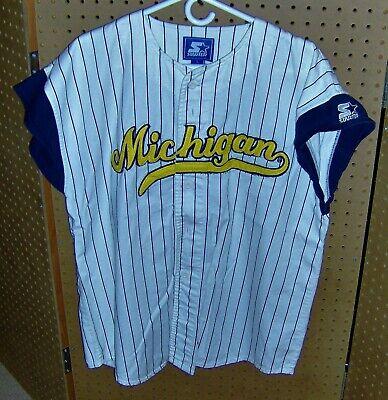 Vintage 1990 S Starter University Of Michigan Um Baseball Jersey Large Ebay