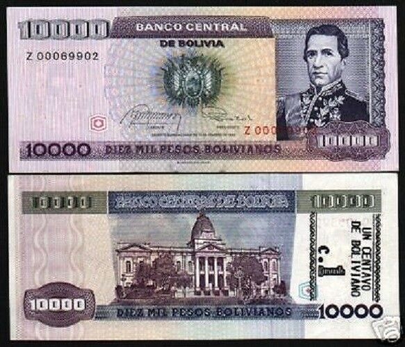 BOLIVIA 1 on 10000 10,000 BOLIVIANOS P195 1984 *REPLACEMENT Z MONEY UNC BANKNOTE