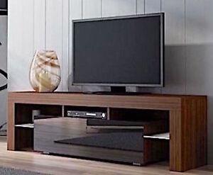 Modern TV Unit Stand Cabinet Walnut Matt High Gloss Black