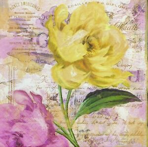 3 x Single Paper Napkins Decoupage Craft Painted Pastel Flowers On Yellow M603