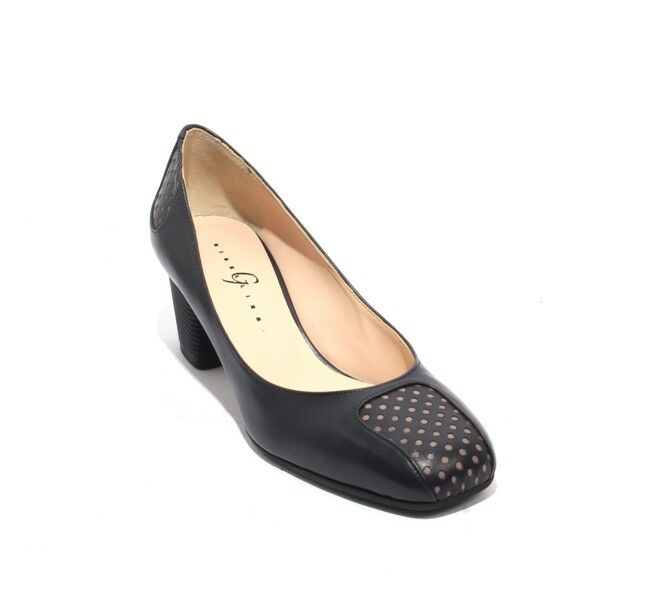 Gibellieri 3293a Navy Taupe Leather Square Toe Heel chaussures Pumps 39.5   US 9.5