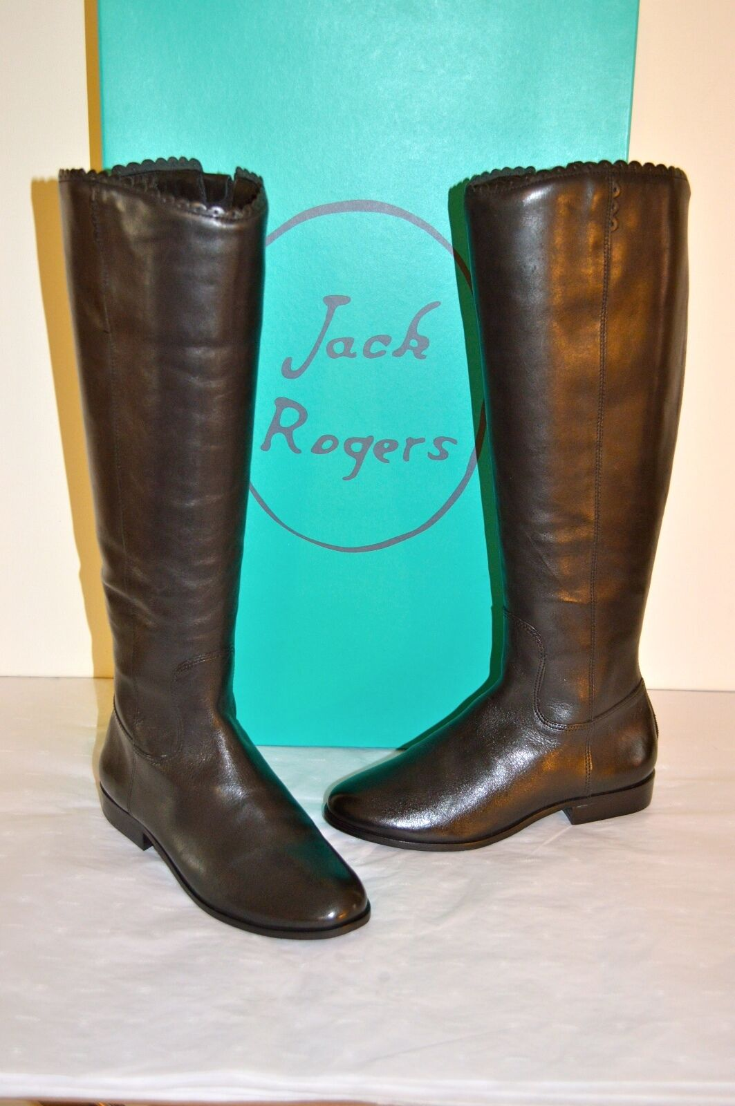 New $298 Jack Rogers Lisbeth Black Leather Boot Tall/Riding sz 5.5