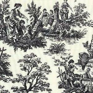 Waverly RUSTIC LIFE BLACK Toile Fabric BTY