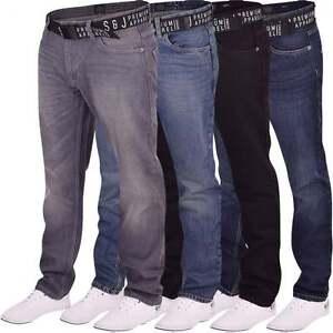 Para-Hombre-Smith-Jones-marca-pierna-recta-Jeans-Stonewash-Resistente-Denim