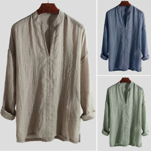 Men-039-s-Blend-Long-Sleeve-Shirt-Summer-Cool-Loose-Casual-V-Neck-Shirts-Tops-M-2XL