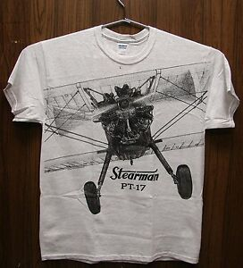 Stearman-PT-17-Airplane-T-shirt-with-HUGE-print-on-front-and-back-Ash-Grey