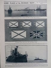 1914 RUSSIAN NAVY FLAGS NAVAL ENSIGN JACK ADMIRAL VICE-ADMIRAL WW1 WWI