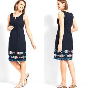 EUC-Talbots-Embroidered-Fish-10-Navy-Blue-Sheath-Dress-Sleeveless-P182036314