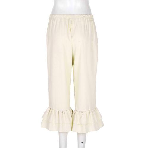 Womens Ladies Ruffles Hem Pants Bloomers Harem Yoga Loose Long Trousers Costume