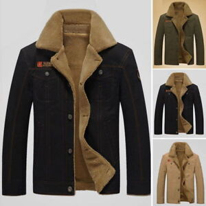 Details about New Winter Bomber Jacket Mens Air Force Pilot Army Green Jacket fur collar Parka
