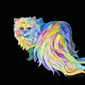 THE-DiVA-Persian-Cat-12x12-Original-Painting-on-stretched-canvas-Sherry-Shipley