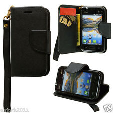 LG OPTIMUS FUEL ZONE 2 L34C VS415PP WALLET CASE W/CARD SLOTS FOLIO BLACK