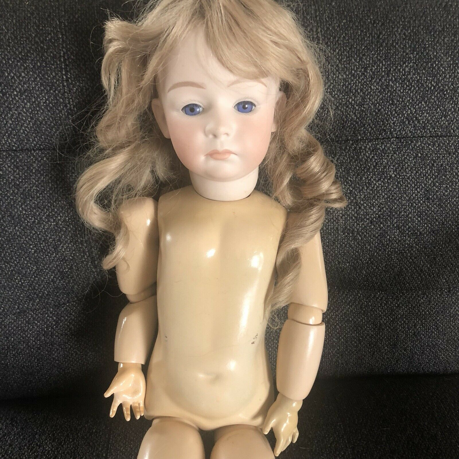"""Antique Bisque Gebruder Heubach Reproduction Doll Ball Jointed 24"""" Pouty"""