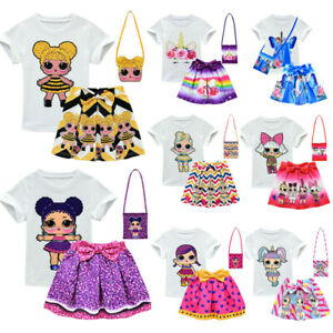 Lol-Surprise-Dolls-Costume-Kids-Girls-T-Shirt-Pleat-Skirt-Outfit-Dress-with-Bag