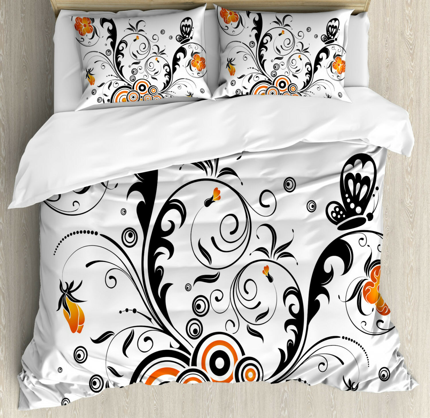 Garden Duvet Cover Set with Pillow Shams Circular Petals Butterfly Print