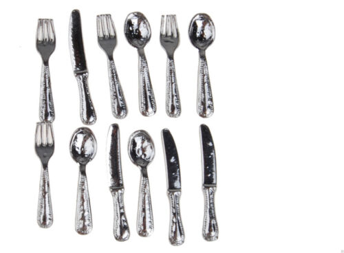 12pcs Dolls House Miniature Dining Tableware Fiesta Cutlery Stainless Steel XS