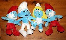 lot of 4 Plush SMURF Toys Papa Smurf Smurfette Clumsy Kelly Toys Build A Bear