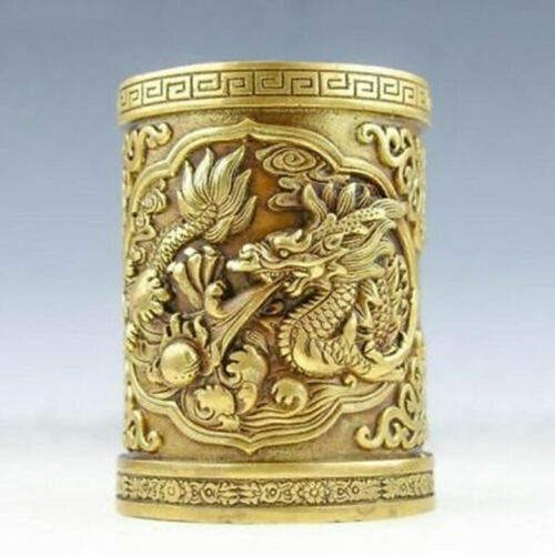 Exquisite Old brass Pen holder Handwork carved fine Dragon Brush pot statue RT