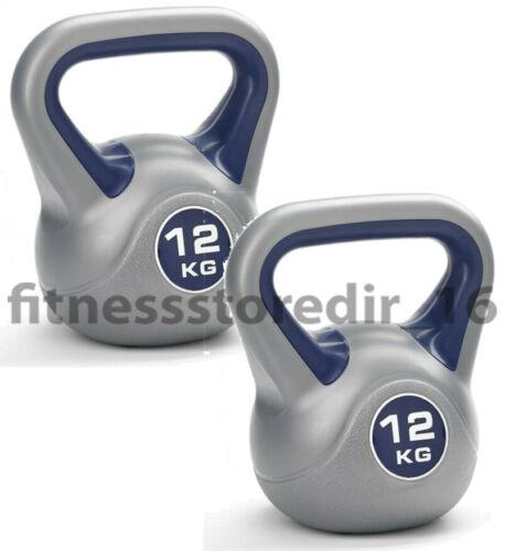 PAIR of 12kg KETTLEBELL Bodybuilding Gym /& Home Weights York Fitness Vinyl