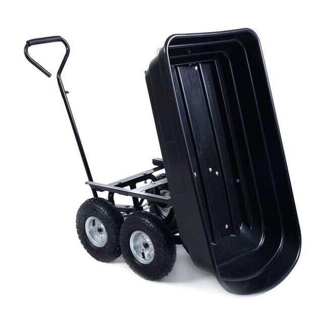 Garden Yard Lawn Dump Cart Dumper Wagon Carrier Utility Wheel barrow Heavy Duty