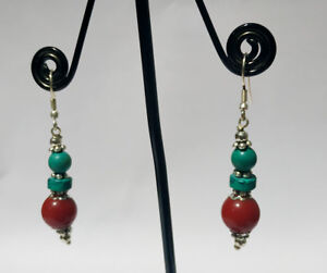 Asian-Ethnic-silver-earring-Handmade-Turquoise-amp-coral-stone-Asian-jewelry-DM2