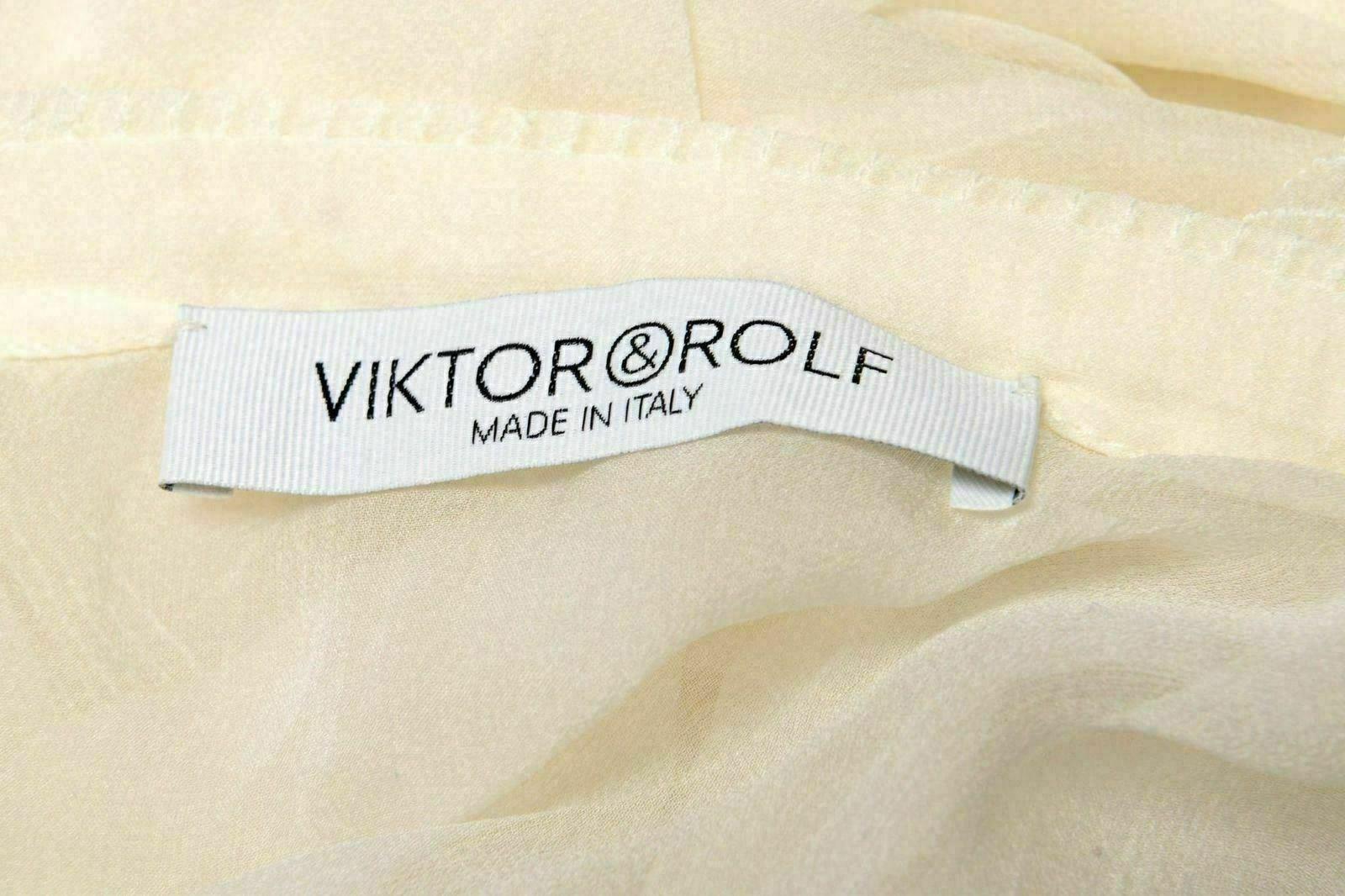Viktor & Rolf 100% Seta Bianco Trasparente senza Maniche Maniche Maniche Donna Maglia USA S It d6b60f
