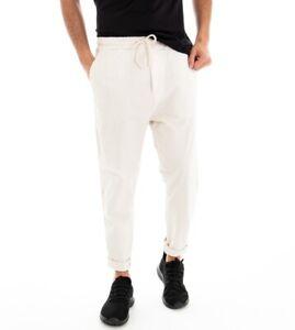 Pantalone-Uomo-Pantalaccio-Elastico-Bianco-Tinta-Unita-Cavallo-Basso-GIOSAL
