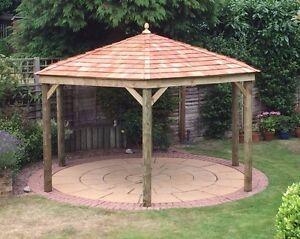 2 5m hexagonal wooden gazebo hottub shelter with cedar for Hot tub shelter plans