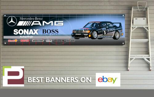 Mercedes 190e Cosworth Touring Car Banner for Workshop 2000mm x 500mm Garage
