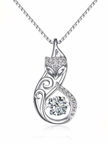 Ginger Lyne Collection Fox Dancing Stone Sterling Silver CZ Pendant Necklace...