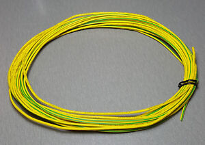 10 Metres YELLOW/GREEN stripe UL-1007 Hookup Wire 18AWG 2.1mm PVC ...