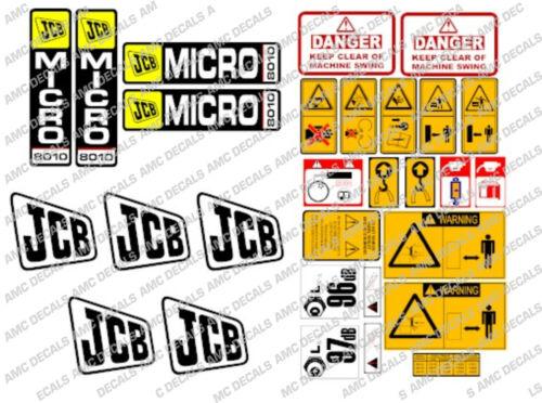 Jcb 8010 Micro Gräber Komplette Chrom Aufkleber Set mit Safty-Warnung