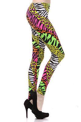 Neon Nation Multi Color Animal Print Bright Leggings 1980s Pants Zebra Cheetah C