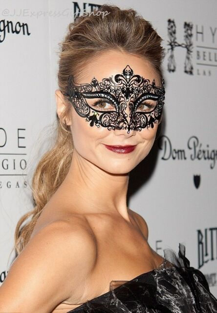 LUXURY Black Laser Cut Venetian MardiGras Masquerade Mask w/ Rhinestones