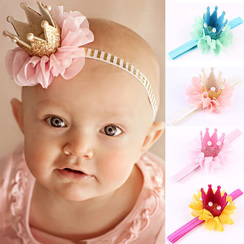 UK/_ Baby Girl Princess Glitter Crown Headband Hair Band Tiara Lace Headwear Rapt