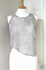 $420 ACNE snake print sheer chiffon cropped tank top vest blouse 38 UK10 US6 I42