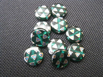 10 Glasperlen petrolgrün bunt 10mm Perlen 9125