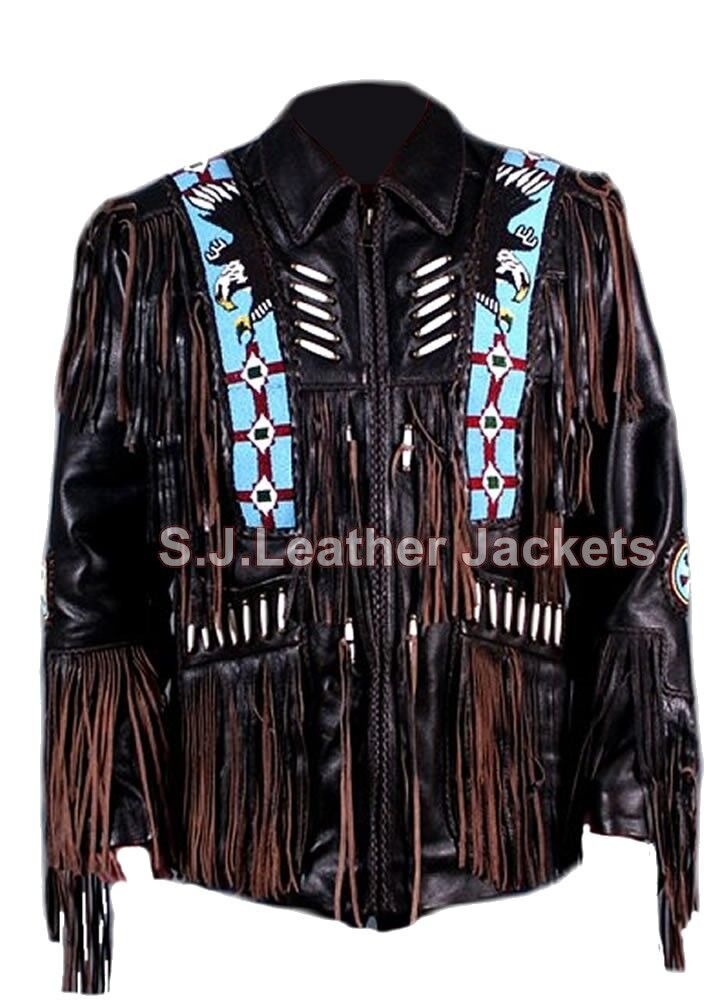 Men's Western Real Leather Coat Special Eagle Beads Fringes & Bones Work Xs-5xl