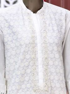 da Jamshed indossare Junaid 100 Pronto originale Kurta al bianco Ricamato Smal Designer xYACZawqIn