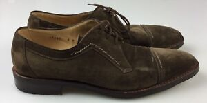 Mens-9M-Gravati-Baumans-Hand-Made-Italy-Brown-Suede-Leather-Cap-Toe-Oxford-Shoes