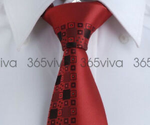 Red-Black-Pattern-Men-Fashion-Handmade-100-Woven-Silk-8-cm-nch-Necktie-Tie