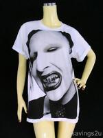 MARILYN MANSON Rock T-shirt, Metal GOTH, White Cotton S M & L Unisex, Music NEW