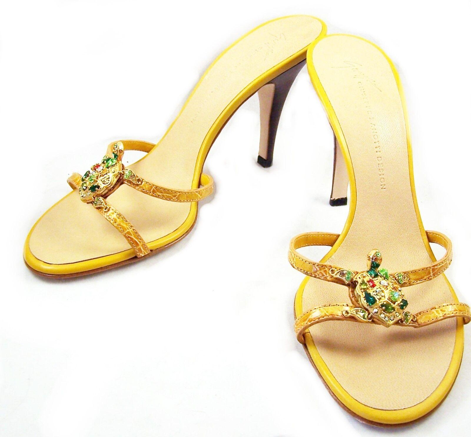 GI EPPE ZANOTTI Gold Stuvachoun Turtle Sandal Sz 39 1/2 - 9-9 1/2  500+ NIB