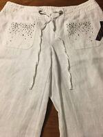 Inc International Concepts White Wide Leg Studded Linen Pants Size 6