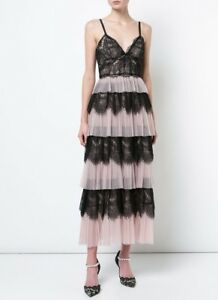 2d9bf8ad011 $795 New Marchesa Notte Blush Pink Black Tulle & Lace Midi Tea Dress ...